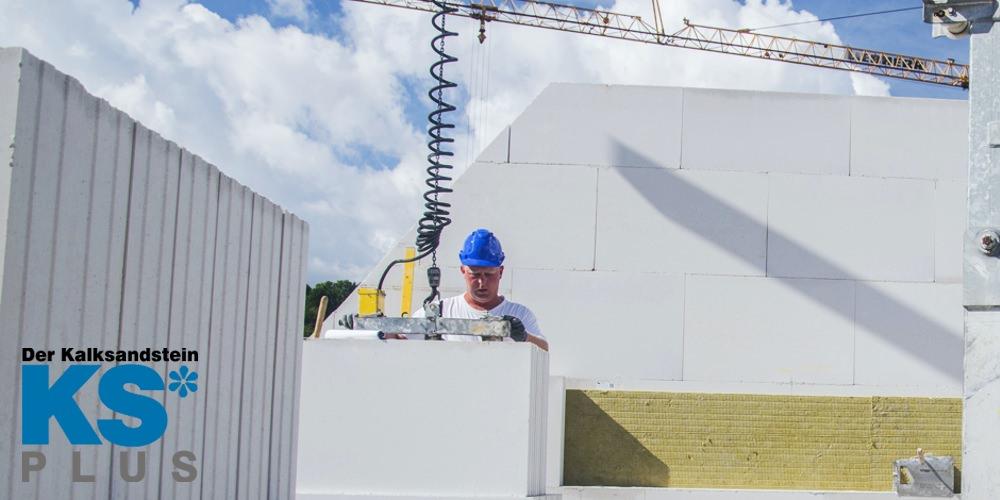 Kalksandsteine KSPlus Planelemente Versetzen auf der Baustelle